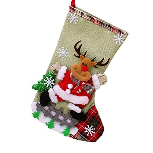 Medias de Navidad Bolsa de Regalo Medias de Navidad para el árbol de Navidad Chimenea Decoración Colgante Calcetín de Navidad Santa/Reno/Muñeco de Nieve por Sandfly