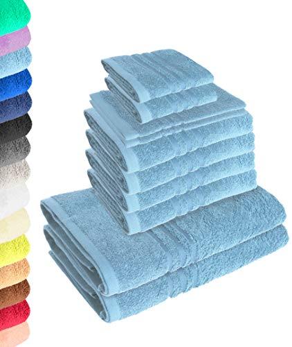 Lavea Juego de 10 toallas Elena - Azul Delfín, 4 toallas de mano, 2 toallas de ducha, 2 toallas de invitados, 2 manoplas de baño, 100% algodón