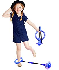 【Great Workout for All Ages】- Ankle Skip toy helps to motor functions while burning excess energy and giving kids a fun cardio workout to do with friends. 【Built-in Flash Wheel】- Every time you skip it, the rotating wheels automatically produces a da...