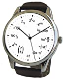 'Math Dial' Watch Shows Math Equations on The White Dial of The Large Polished Chrome Watch with Black Leather Strap
