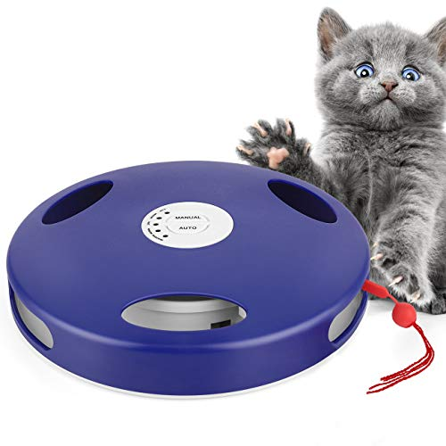Pawaboo Electric Cat Toy Tail Spin Rat, 5 Action Modes Auto Manual Rat Sound Interactive Hunt Chasing Robotic Cat Mouse Tail Toy, Floor & Wall Installation Tail Spin Rat for Cat Kitty Kitten, Blue