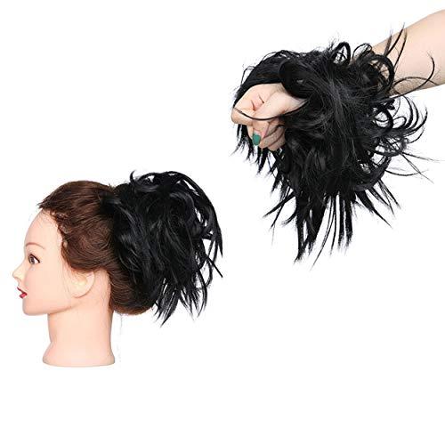 XXL Postiche Cheveux En Caoutchouc Chouchou Chignons VOLUMINEUX Bouclés Ou Chignon Décoiffé Extension a clip Cheveux Naturel Noir foncé