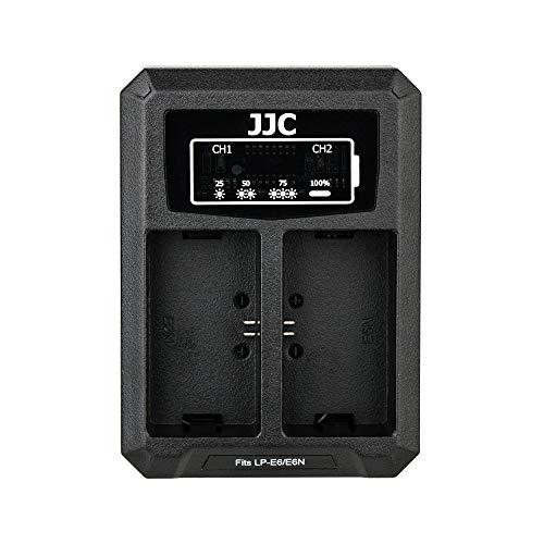 JJC Cargador de Batería Dual USB para Canon EOS R, 5D Mark IV, 5D Mark III, 5D Mark II, 5Ds, 5Ds R, 6D, 6D Mark II, 7D, 7D Mark II, 80D, 70D, 60D, 60Da Reemplaza Canon LP-E6 / LP-E6N