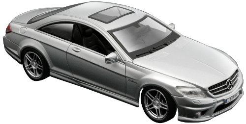 Maisto Mercedes CL63 AMG: Originalgetreues Modellauto 1:24, Türen und Motorhaube zum Öffnen, Fertigmodell, 20 cm, silber (531297)