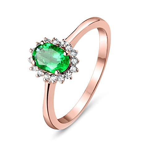 Socoz Anillo de compromiso de oro rosa de 18 quilates para boda, esmeralda de corte ovalado de 0,5 ct con flor de 4 garras con diamante de 0,11 ct para mujer de oro rosa oro rosa