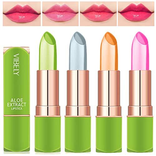 4 Stück Magischer Temperatur Farbwechsel Aloe Vera Lippenstift, Dulele Wasserdichte Langlebige Lippenbalsam Pflegender Lippenstift Kosmetik Make up (EEE)