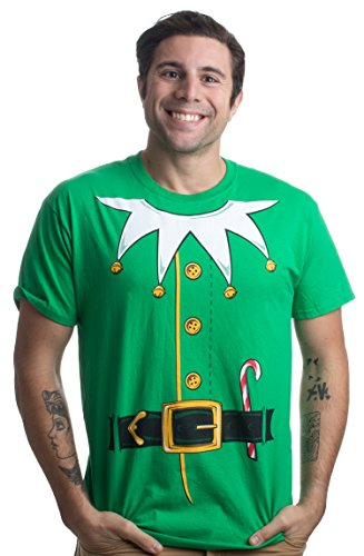 Santa's Elf Costume | Jumbo Print Novelty Christmas Holiday Humor Unisex T-Shirt-Adult,XL Green
