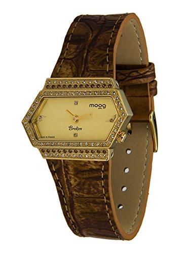 Moog Paris Broken Reloj para Mujer con Esfera Dorada, Correa Marrón de Piel Genuina y Cristales Swarovski - M45082-004