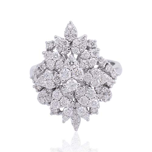 Spectrum Jewels La joyería natural 1.75 Ct diamante Pave anillo de 18 quilates Cluster finos hechos a mano para Mujer (US Ring size 7)