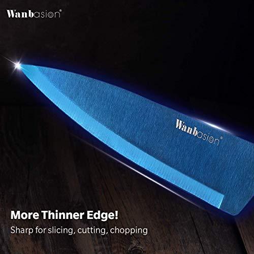 Wanbasion Blue 6 Piece Kitchen Utensils Set Stainless Steel Kitchen Cooking Utensils Set Dishwasher Safe Heat Resistant Kitchen Utensils for Cooking