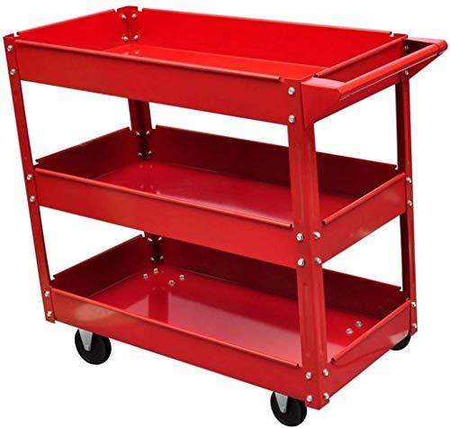 Dljyy Gereedschapswagen, 3 dieren rekken Heavy Duty Garage Mechanic Utility Service Storage Tool trolley met 4 wielen, belasting 100 kg Red 840 x 410 x 780 mm
