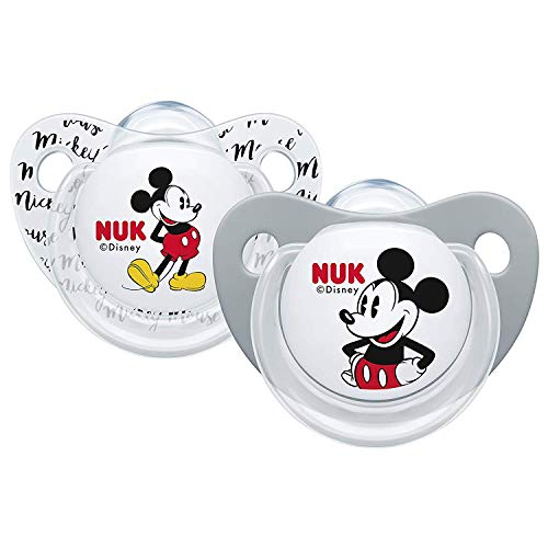 NUK - Chupetes Mickey Mouse Trendline, 6-18 meses, sin BPA, juego de 2