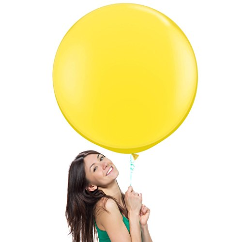 36 Inch (3 ft) Giant Jumbo Latex Balloons (Premium Helium Quality), Pack of 3, Regular Shape - Yellow, for Photo Shoot/Birthday/Wedding Party/Festival/Event/Carnival