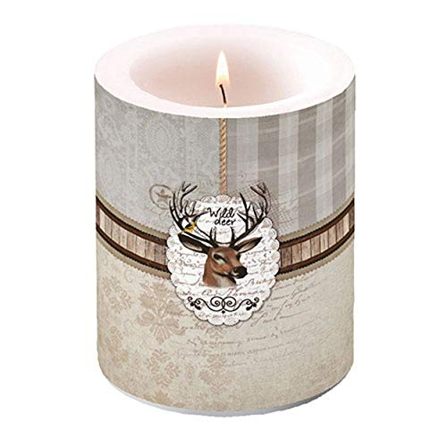 Ambiente Luxury Paper Products Stumpenkerze Wild Deer 10x12cm Kerze Weihnachten Tischdeko Kerzendeko Herbst Küche Deko Jagd Hirsch Kerze
