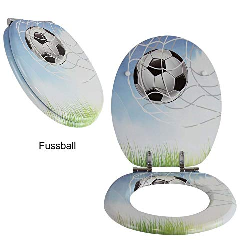 Toilettensitz WC-Sitz mit Absenkautomatik und verzinkten Scharnieren - Klobrille Klodeckel Toilettendeckel aus MDF … (Fussball)