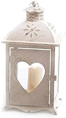 Deko Windlicht Teelicht Laterne Herz grau