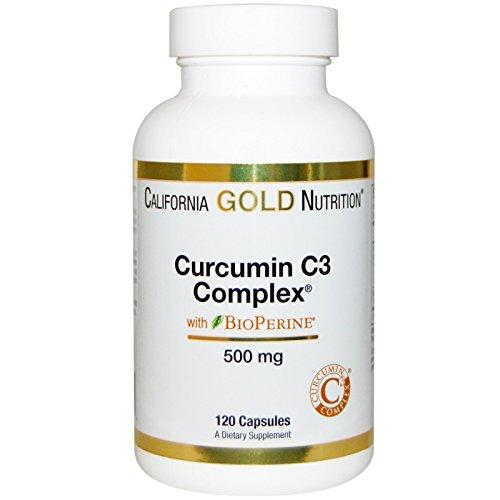California Gold Nutrition, Curcumin C3 Complex with BioPerine, Inflammation Support Formula, 500 mg, 120 Veggie Capsules, Milk-Free, Gluten-Free, Soy-Free, Sugar-Free, Vegetarian, Wheat-Free, CGN