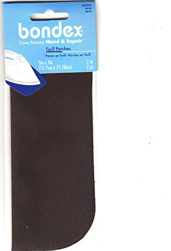 BONDEX SEAL BROWN TWILL 5' x 7' IRON ON MENDING PATCHES (2 Pc), Clothing, Repair