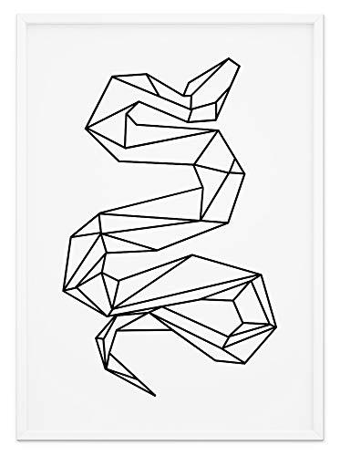 Fine Art Wandbild Origami Tier Poster - Schwarz & Weiß Design Geometrisch - A4 Print