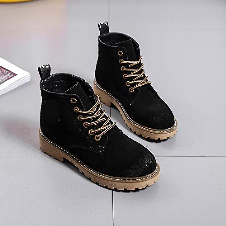 HOESCZS Damenschuhe Martin Stiefel Frauen Herbst Und Winter Winter Lederstiefel Low Heels Flachriemen Kurze Stiefel Mode Wild Damen Stiefel  das Modischste