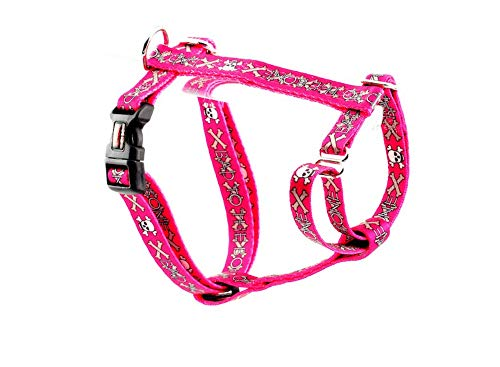 Tuff Lock Durable Figure-H Fully Adjustable Nylon Harness for Dog/Puppy, Made in USA - BTTB Pink, Small