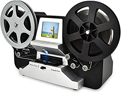 "8mm & Super 8 Reels to Digital MovieMaker Film Scanner, Pro Film Digitizer Machine with 2.4"" LCD, Black (Convert 3 inch and 5 inch 8mm Super 8 Film reels) with 32 GB SD Card"