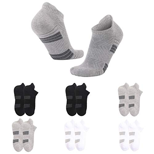 Ankle Athletic Running Socks for Men Women Trainer Socks Anti-Blister Cushioned Low Cut Breathable Cotton Sports Socks (6 Pairs) (Black+Grey+White, 6-9)