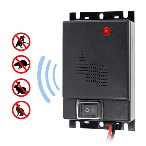 Etrogo Rattenvertreiber Ultraschall,Mäuseabwehr 12V 24V Batteriebetriebener Nagerabwehr Tiervertreiber für Haus/Auto/Garage