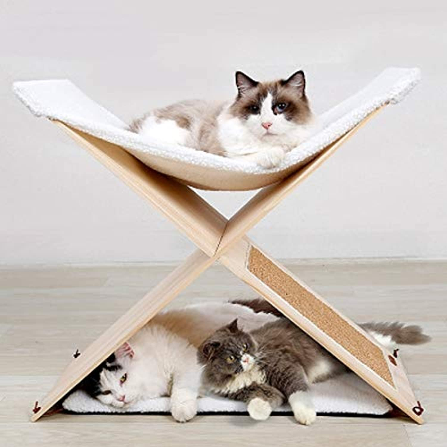 IW.HLMF Cat Furniture Sisal Cat Claw Column Cat Scratch Board Cat Litter Double Cat Frame Solid Wood Claw Claw Cat Climbing Frame