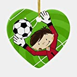 None-brands Christmas Decorations, Christmas Ornaments 2020, Cute Cartoon Soccer Football Boy Ceramic Heart Shape Ornament for Christmas Tree, Decorative Hanging Ornaments, Gift Wrap Decor