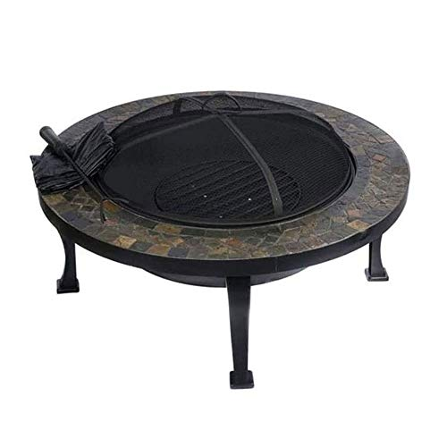 Best Buy! ZOUJUN Multi-Functional Metal Fire, Black Round Outdoor Garden and Patio Luxury Heater Fire Pit Brazier Brazier Courtyard Home Barbecue Table