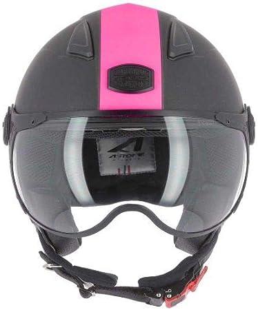 Astone Helmets - Casque jet KSR 2 graphic - Casque de moto léger - Casque de moto compact - Casque de scooter - matt black pink XS