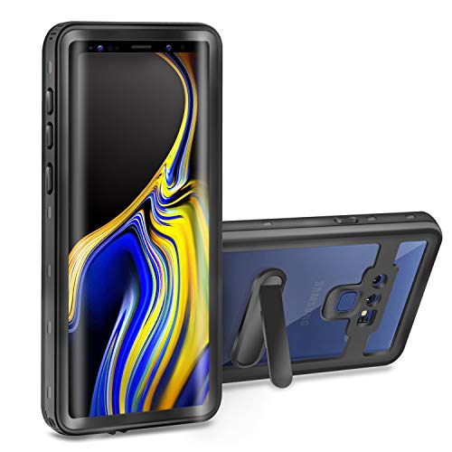Samsung Galaxy Note 9 Waterproof Case - Meritcase Full-Body Heavy Duty Protection Cover with Built-in Screen Protector & Removable Kickstand for Galaxy Note 9 (2018 Release) (Black/Clear)
