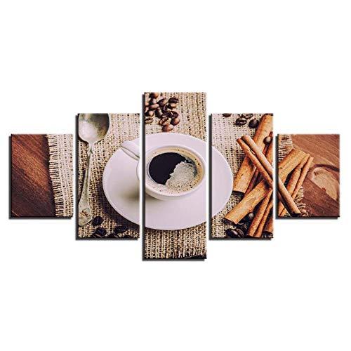 WLWIN Leinwand Wandkunst Bilder Modernen Rahmen Wohnzimmer Wohnkultur 5 Stücke Kaffeebohnen Tee Geschirr HD Gedruckt Poster Malerei