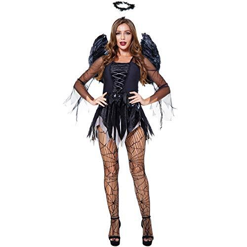 Vestido Disfraces para Mujer Blanco Negro Disfraces de Halloween Angel Caido para Cosplay Carnaval Sexy Traje 3 Piezas de Fiesta Halloween con Alas (Negro Blanco, L)