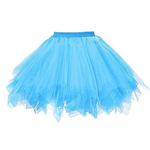 VEMOW Tutu Damenrock Cosplay Tüllrock 50er Kurz Ballet Tanzkleid Unterkleid Crinoline Petticoat Crinoline für Rockabilly Kleid Partykleder (Himmelblau, M)
