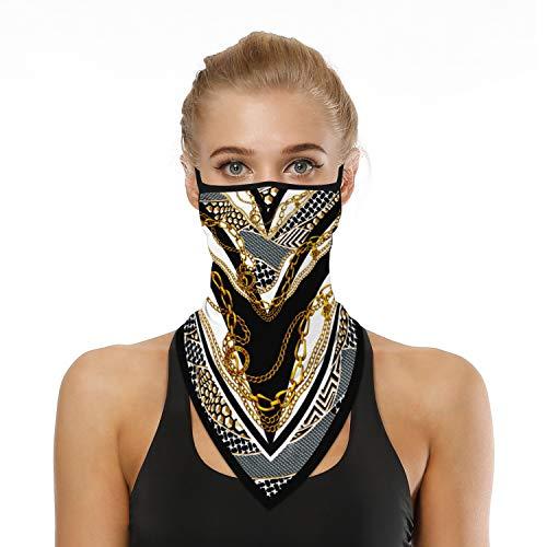 Unisex Gezicht Sjaal Bandana Afdrukken Oorlussen Gezicht Rave Bivakmuts Mannen Vrouwen Neck Gaiter Cover for Dust Wind Motorfiets Masker Buitenshuis Sport,Gold,One size