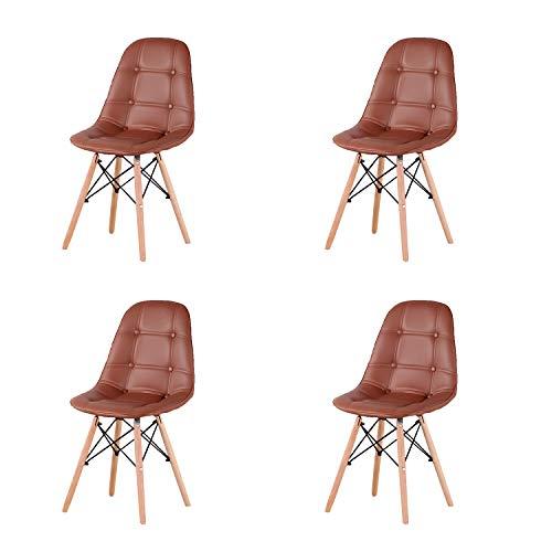 GroBKau - Set di 4 sedie per sala da pranzo, in similpelle, con seduta e schienale, stile moderno, con gambe in legno, per salotto, sala da pranzo, cucina, marrone