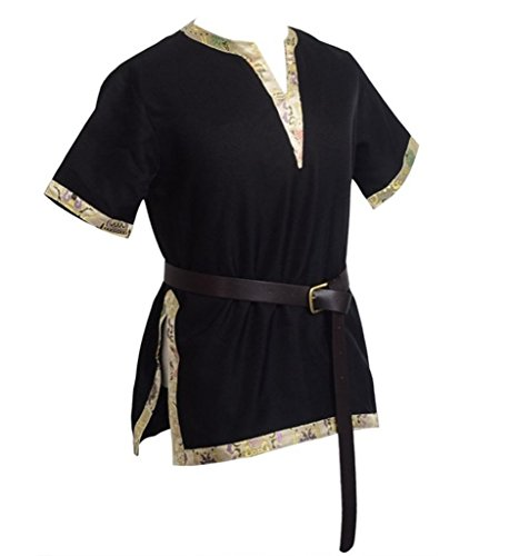 BLESSUME Medieval Viking Tunic with Belt LARP Aristocrat Chevalier Cosplay Costume (XL, Black)