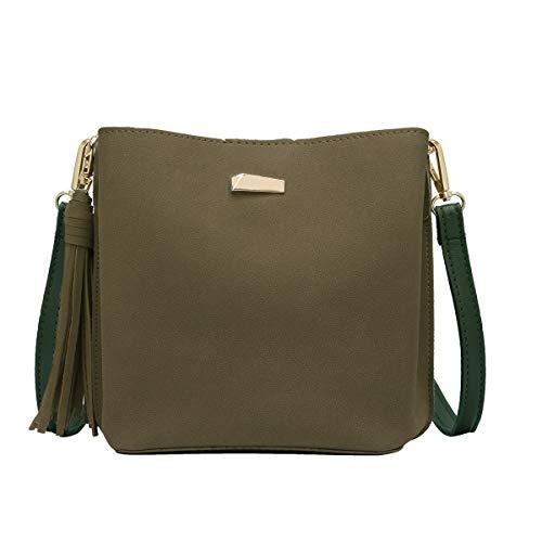 CRAZYCHIC - Damen Kleine Umhängetasche Handtasche - Beuteltasche Schultertasche Wildleder PU - Hobo Bucket Bag - Franse Quaste Abendtasche - Mode Elegant - Khaki Grün