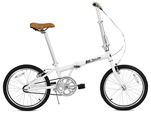 """FabricBike Folding Pieghevole in Alluminio, 20"""", Bicicletta Single Speed, 3 Colori (Matte White & Black)"""