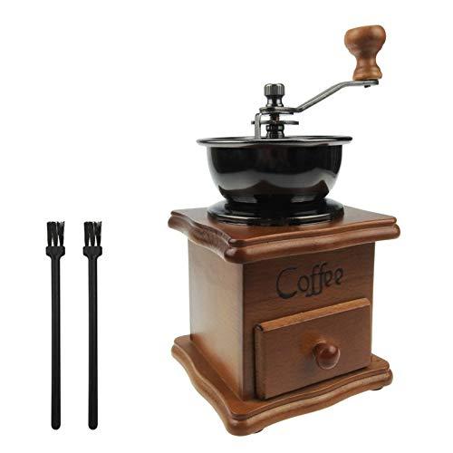 Hantehon Macinacaffè manuale in stile vintage, macinacaffè portatile a manovella con 2 pennelli, ideale per casa, ufficio e viaggi