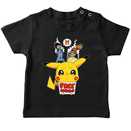 OKIWOKI Grappige Pokémon Parodies Black Baby's T-shirt - Pikachu - Gratis knuffels (Pokémon Parodies Parody) (Ref:876)
