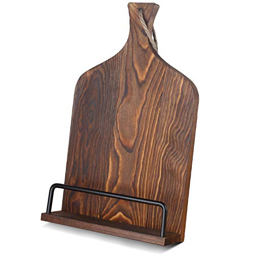 VYNOPA Cookbook Stand Rustic Wood Adjustable Recipe Book iPad Displaying Holder in Cutting Board Style