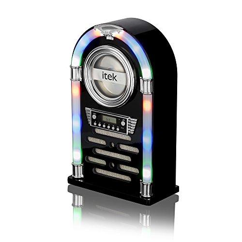Itek I60018CDGB Jukebox - Caja con Reproductor de CD, Radio FM y conexión Bluetooth, Color Negro Brillante