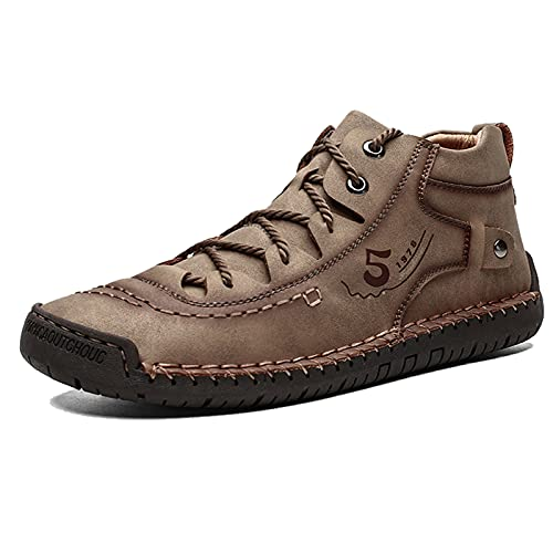 Men's Autumn and Winter Boots, British Style and Velvet Cotton Shoes, Large Size Men's Casual Handmade Leather Shoes,US 7 Brass,
