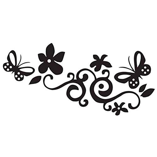 U/K Pulabo, adesivo per auto alla moda, con motivo a fiori e farfalle, in PET riflettente, ideale per skateboard