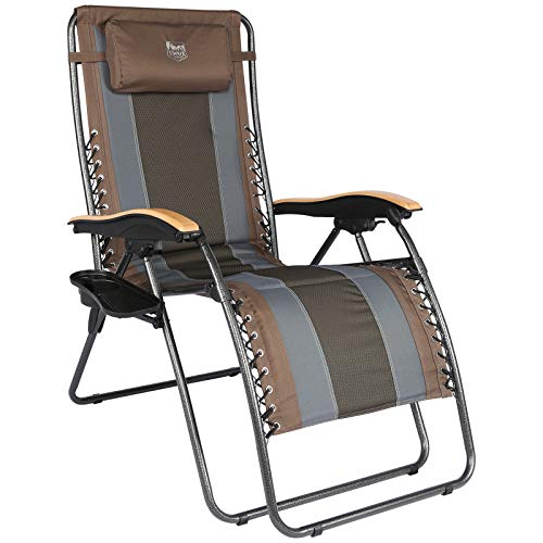 TIMBER RIDGE Oversized Zero Gravity Chair Folding Patio Lounge with Adjustable Headrest Cup Holder for Outdoor Garden Lawn-Support up to 350lbs(Brown)