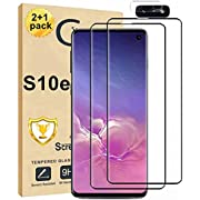 [2+1Pack] Galaxy S10e Screen Protector and Camera Lens Screen Protector Compatible Fingerprint Full Coverage Bubble-Free 9H Scratch-Resistant HD Clear Tempered Glass for Samsung Galaxy S10e