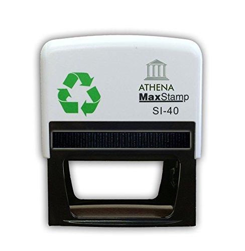 Personalisierbarer Gummistempel, selbstfärbend, mit Adresse und Logo, bis zu 7 Zeilen Text mit Logo, 73 x 35 mm